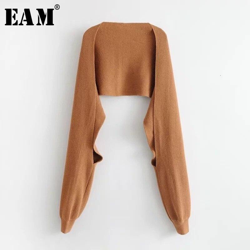 [EAM] las mujeres tejer Multicolor negro bufanda para mantener el calor nueva personalidad de marea de la moda de otoño invierno 2021 JD5620
