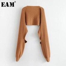 [Eam] feminino breve tricô multicolorido preto manter quente cachecol nova personalidade longa moda maré outono inverno 2020 jd5620