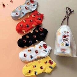 В наличии! 5 пар, корейские модные смешные носки elmo, Хлопковые женские милые носки до щиколотки, сумасшедшие носки, забавные носки, корейские ...
