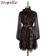 Ladies Bandage Dress 2019 New Autumn Winter Fashion Stand Collar Bow Long Sleeve Leopard Printed Elegant Women Party Dess