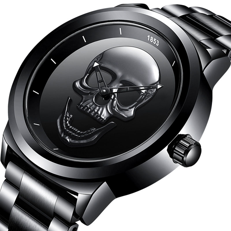 2020 New Sports Quartz Skeleton Watches Men Silicone Band  Skull Wristwatch Man BLACK Unique Couple Gift Relo Digital