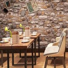3d wallpaper retro brick stone papel de parede culture wall paper industrial wind restaurant hot pot shop