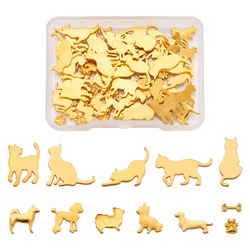 60pcs/box Cats Dogs Alloy Cabochons For DIY UV Epoxy Resin Pressed Flower DIY Jewelry Making Findings Accessories Mixed Shapes