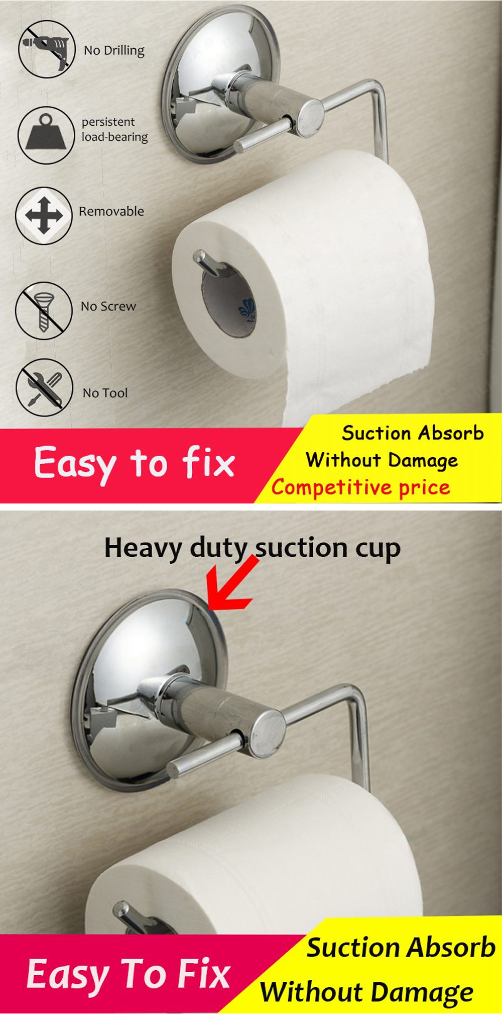Suction Cup Rack Toilet No Drilling Silver Stainless Steel Wall Mount Bathroom Roll Paper Holder Kitchen Rustproof Hotel Durable