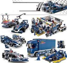 Классические строительные блоки Sluban F1 гонки Комбинированная Модель сборные блоки пластиковые самодельные блоки игрушки для детей подарок