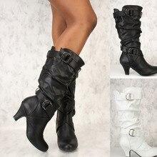 купить 2019 Hot Sale Women PU Leather Knee High Boots Fashion Classic Flat Boots Ladies Autumn Winter Shoes Basic Long Boots по цене 780.36 рублей