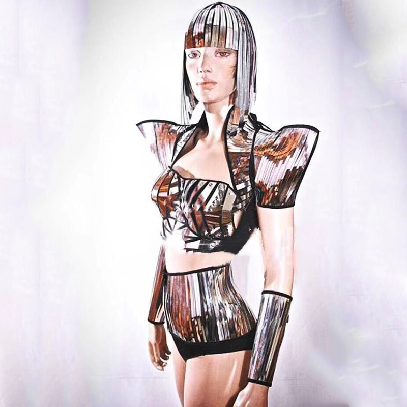 New Futuristic Technology Sense Nightclub Stage Dance Costume Party Dress Theme Clothing Female Singers Silver Clothes VDB1119