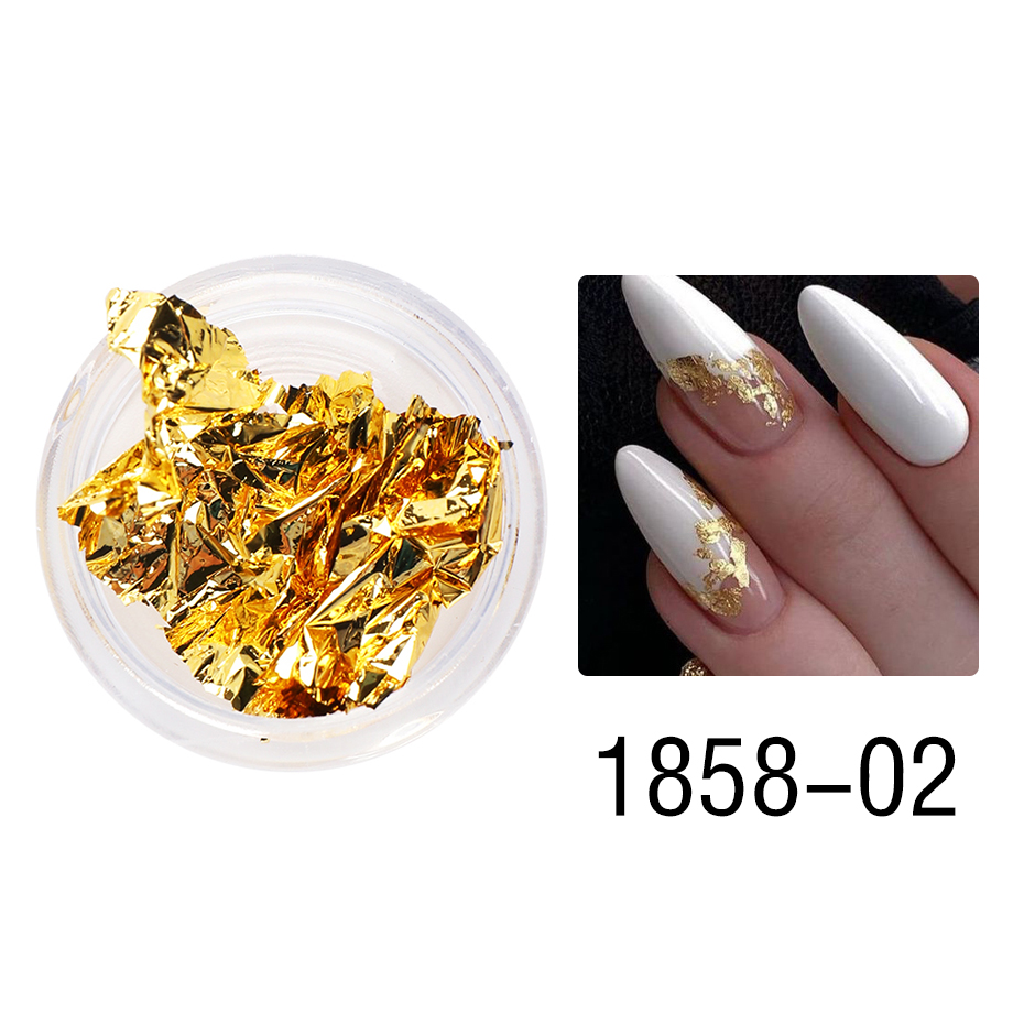 1 Box Gold Glitter Flakes Irregular Aluminum Foil Sequins For Nails Chrome Powder Winter Manicure Nail Art Decorations LY1858-1 15