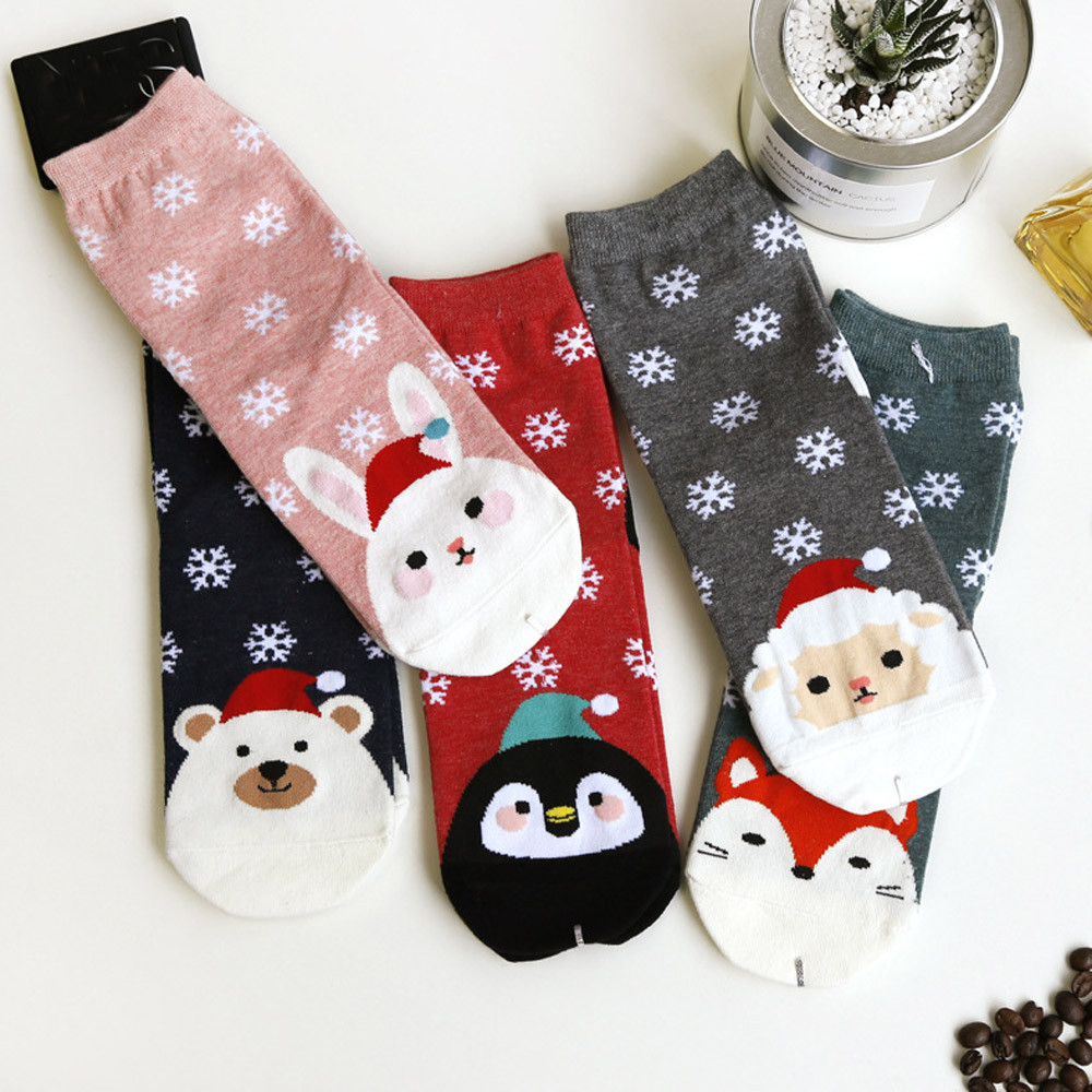 Christmas Cotton Women winter warm Socks Casual Cartoon Funny Christmas Santa Claus Printed Socks for Female Christmas Gift