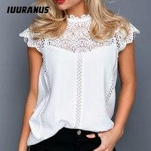IUURANUS Ladies Lace Stitching White Blouses Shirts Women Summer Keyhole Back Hollow Out Sleeveless Casual Tops Female Sweet lace insert keyhole back teddy