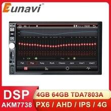 Eunavi 2 Din 7 Đa Năng Android 9.0 4GB 64GB Đa Phương Tiện Phát Thanh Stereo GPS Wifi Cảm Ứng màn Hình DSP 2DIN Không DVD CD
