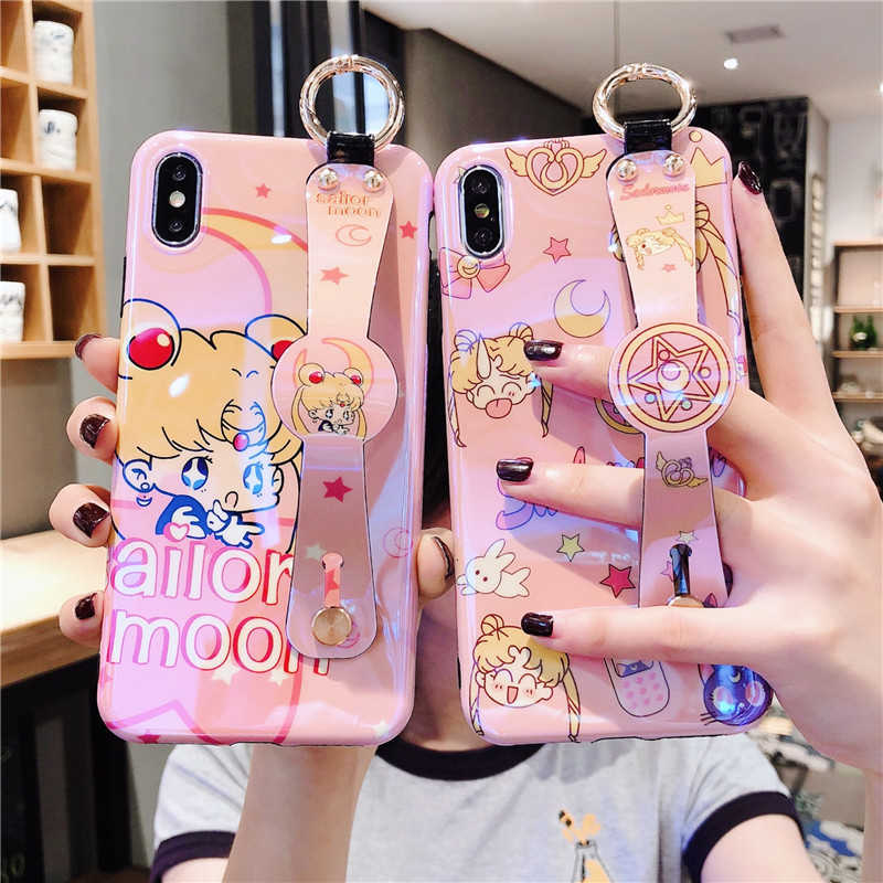 Étui pour iphone 11 Pro Max XR XS Max X 7 8 6 6S Plus dessin animé Kawaii Sailormoon Mars couverture de dragonne Blue Ray