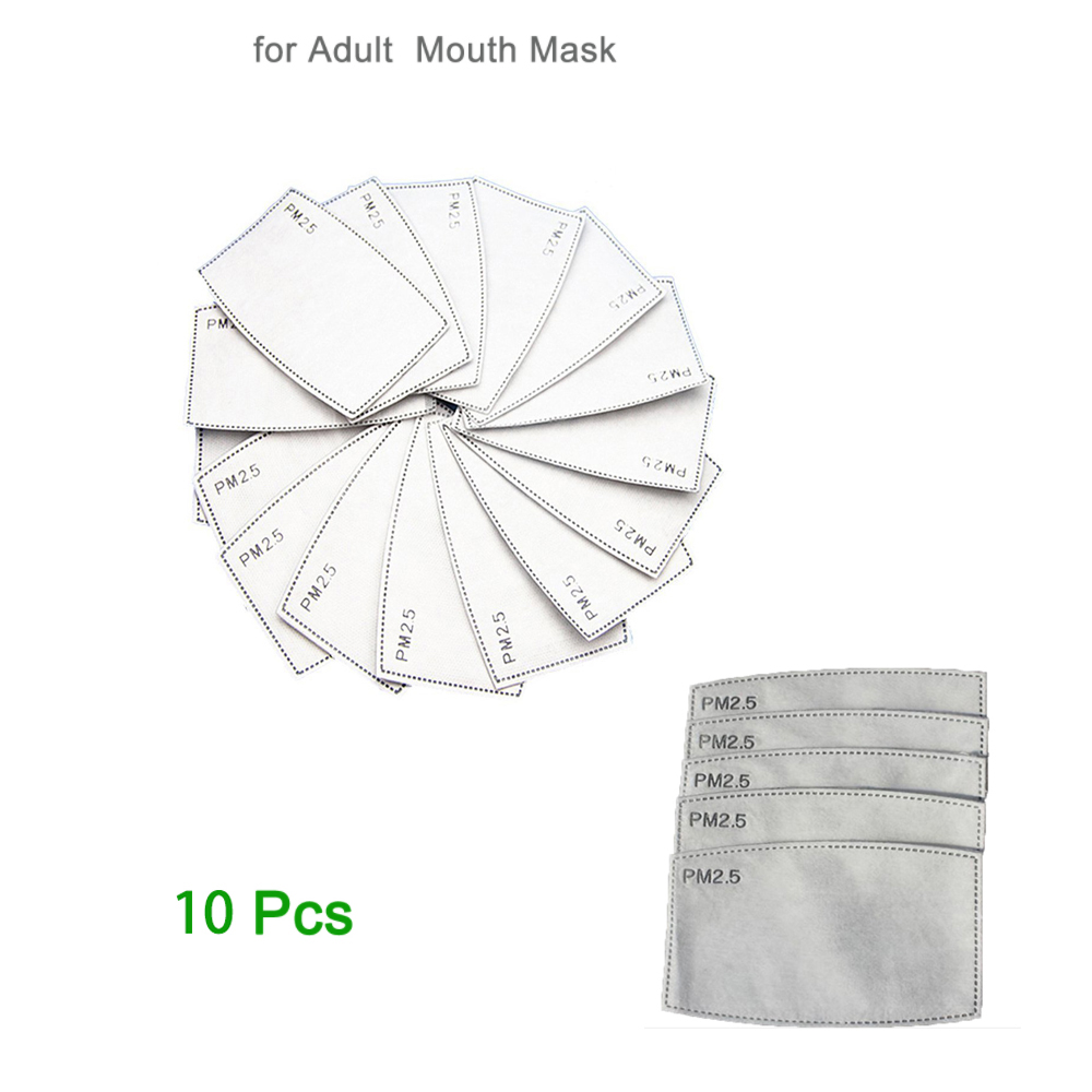 10Pcs/Set PM2.5 Anti Haze Mouth Mask Replaceable Filter-slice 5 Layers Non-woven Adult Activated Carbon Filter (4.7*3inch)