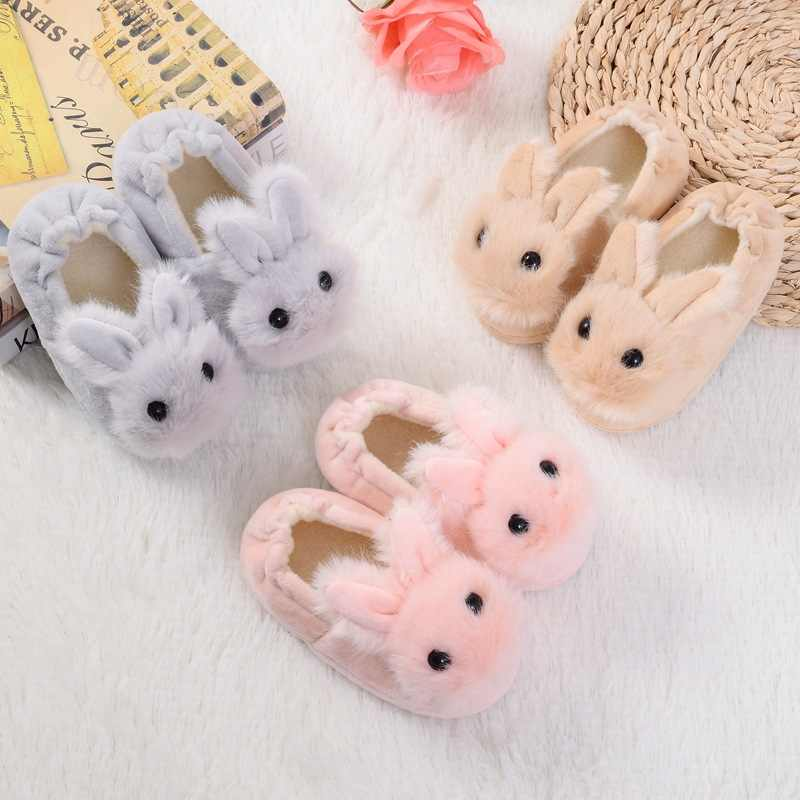 Children Cotton Shoes Kids Home Slippers Boys And Girls Baby Cute Rabbit Ears Plush Ball Thickening Warm Indoor Shoes