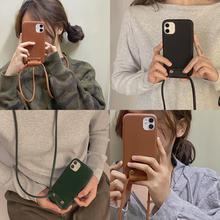 럭셔리 브랜드 클래식 크로스 바디 끈 가죽 분리형 전화 케이스 아이폰 11Pro 맥스 X XS XR 7 8 플러스 패션 커버 funda