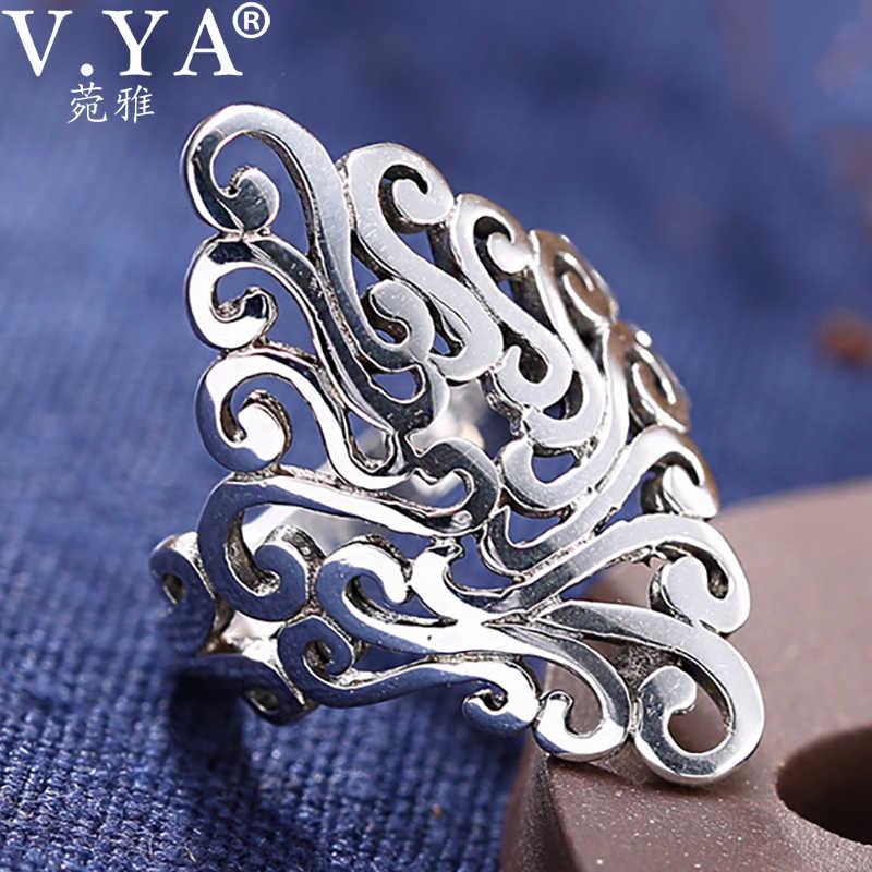 V. YA Cool Skull mano plata tailandesa al aire libre anillos para hombres 925 joyería de plata esterlina anillo masculino regalos de moda