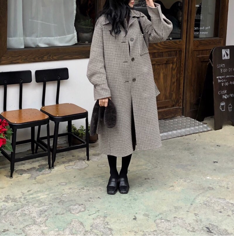 H10aa0fc638f64307a703dc3aade964a4B - Winter Houndstooth Check Woolen Overcoat with Belt
