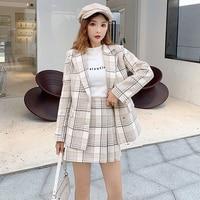 Office Ladies Two Piece Sets Women White Brown Plaid Blazer Skirt Suit Formal Vintage Check Blazer Jackets Mini Skirt Suits