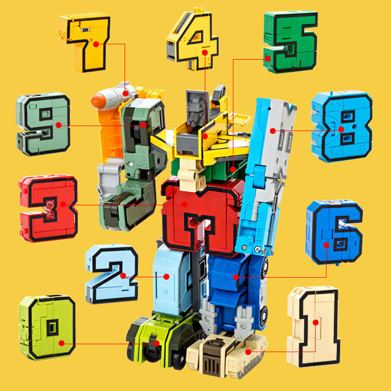 10Pcs Transformation Number Robot Team Assembles Gifts Of Puzzle Children's Building Block Toys