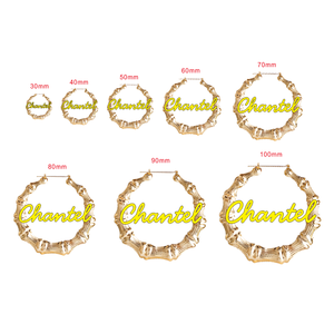 Image 5 - 45mm 90mm Custom Bamboo Hoop Earrings Customize Name Earrings Bamboo Style Personality Earrings With Statement Words Hiphop Sexy