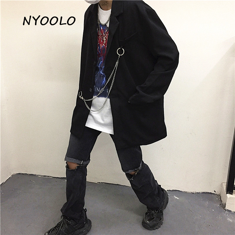 NYOOLO Novelty Design Pocket Chain Black Blazer Casual Street Loose Long Sleeve Single Breasted Blazer Women Men Cloth Outerwear