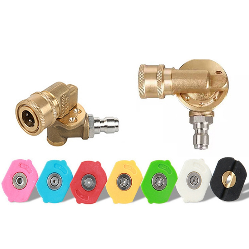 Pressure Washer Spray Nozzle Tips 1/4 Inch Quick Pivoting Coupler Connector Multiple Degrees Car Cleaner|Garden Water Guns| |  - title=