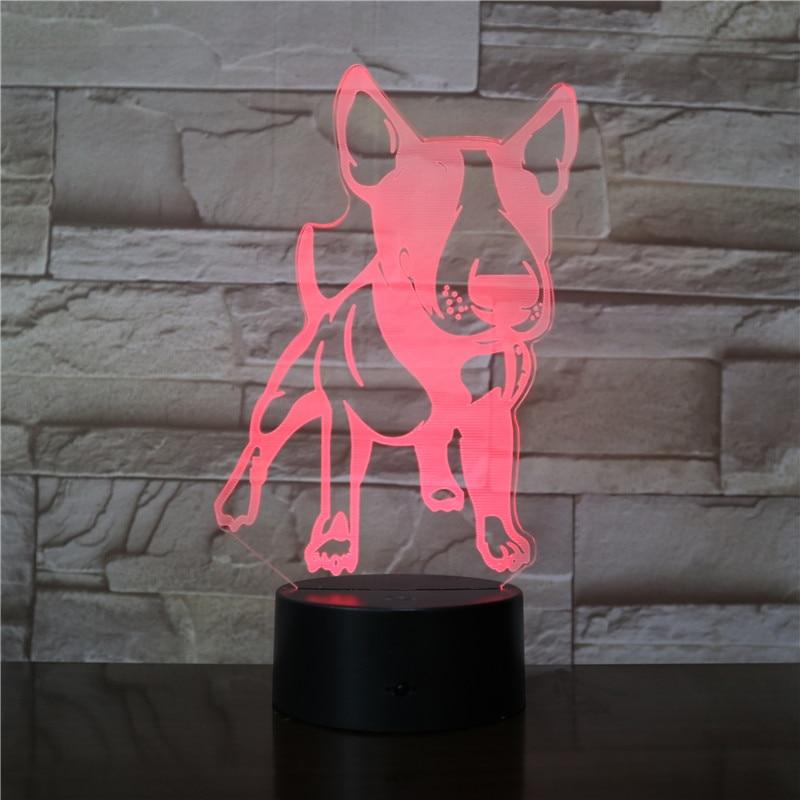 3D Bull Terrier Shape Designed LED Visual Lamp Pet Dog Puppy 3D Optical Illusion Lamp Home Decor LED Night Light Table Lamp