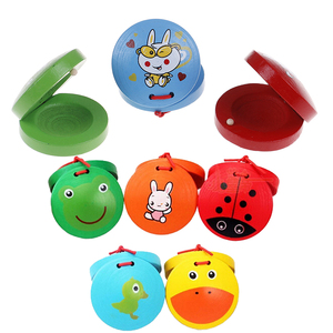 New Cartoon Wooden Castanet Toy Children Musical Percussion Instrument Xmas Gift