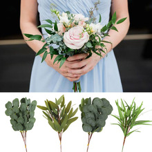 5pcs Eucalyptus Leaves Garland Branch Green Fake Plant Artificial Flower Wedding Bouquet Home Decor DIY Party Wreath Supplies