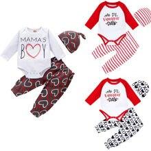 Одежда для малышей, Детский комбинезон с надписью «My First Valentine's Day» для маленьких девочек и мальчиков, топы+ штаны+ шапочка, комплекты из 3 предметов для детей 0-24 месяцев