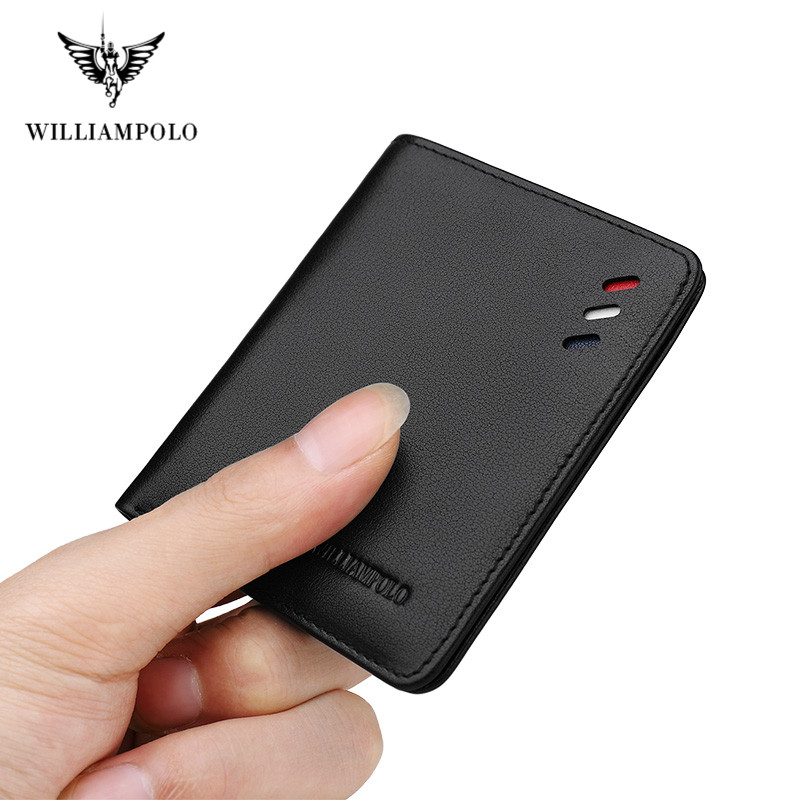 Williampolo 100% Genuine Leather Wallet Men Small Mini Ultra-thin Wallet Handmade Wallet Cowhide Card Holder Short Design Purse