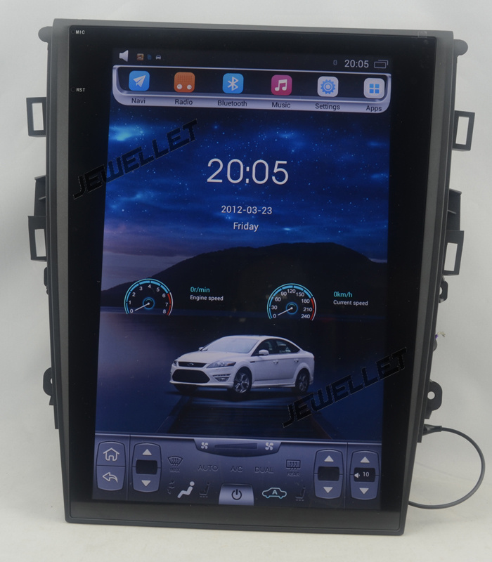 12.1 tesla style vertical screen Quad core Android 6.0 Car GPS radio Navigation for ford Mondeo 2013-2017 automatic A/C image