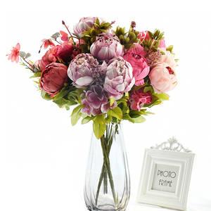 Fake Flower Decorative Peonies Artificial-Peony DIY 13pcs/bunch Home Wedding Silk