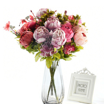 13Pcs/Bunch Artificial Peony Decorative Party Silk Fake Flower Peonies For Home Hotel Decor DIY Wedding Decoration Flower Wreath