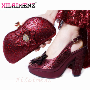 Image 1 - Latest Italian Spring Sandals Shoes And Bag To Match Set For Party Fashion Rhinestone Pumps Shoes And Bag Set in Wine