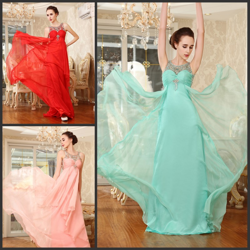 Free Shipping 2018 Luxury Handmade Crystal Vestidos Sexy Formal Brides Gowns Party Prom Red Pink Chiffon Long Bridesmaid Dresses