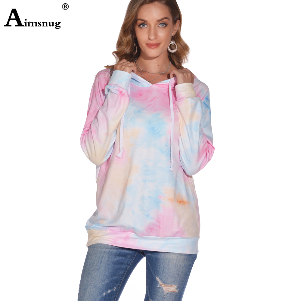 Aimsnug 2020 Women Summer Hoodie Tops Autumn Fashion Tie dye Print Leisure Casual Shirt Tunic Plus size Femme Hooded T shirt(China)