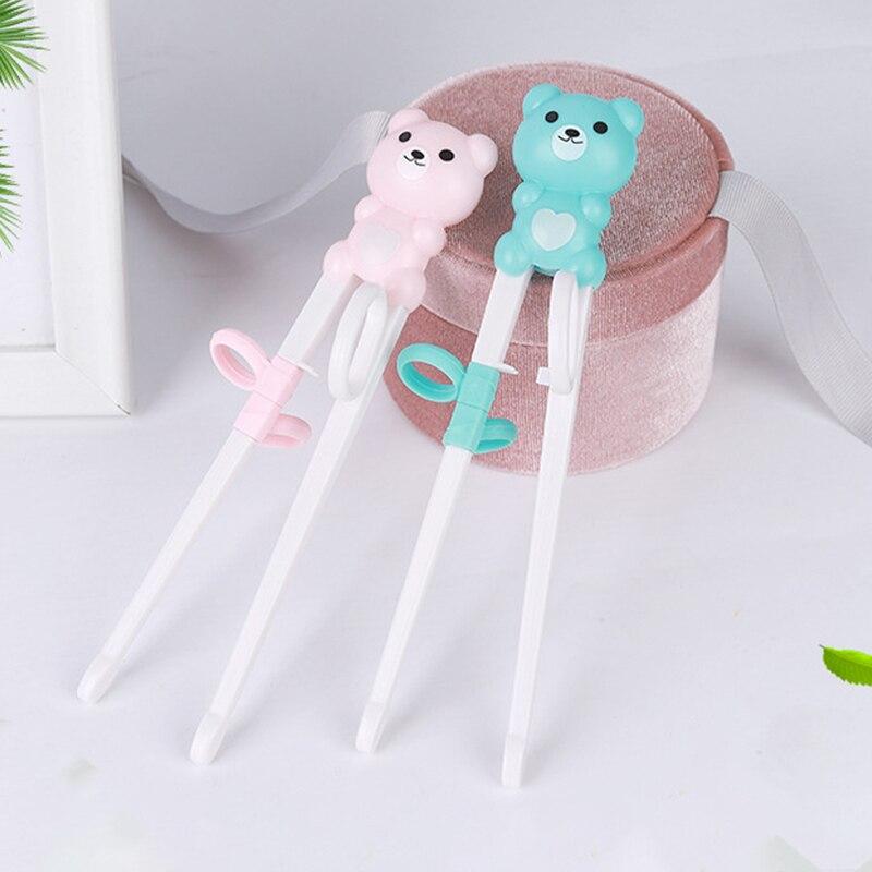 Симпатичные Детские Обучающие палочки для еды, палочки для начинающих с мультяшными животными, столовые приборы из силикона и АБС, палочки ...