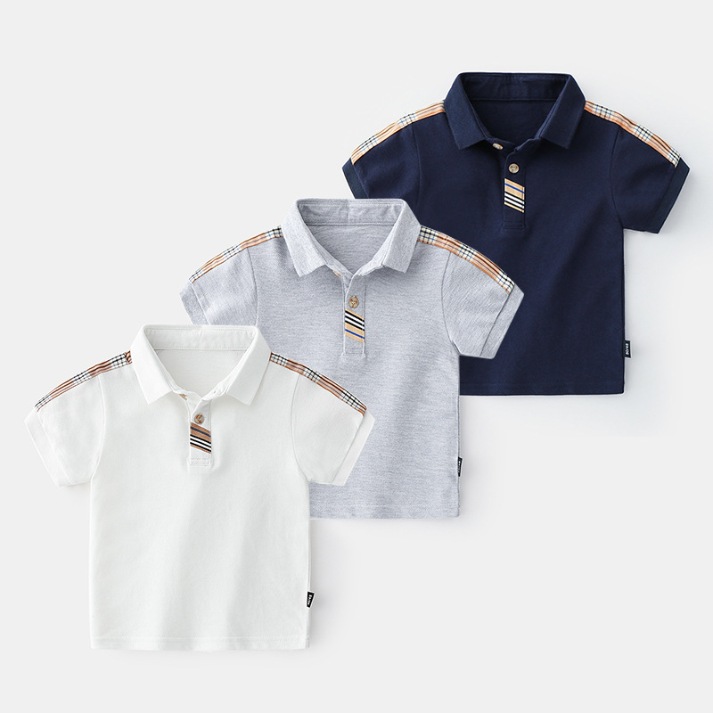 Boys Lattice Summer Polo Shirts Cotton Boys Clothes Short Sleeve Tops Kids Polo Shirt Blue White Boys Clothing