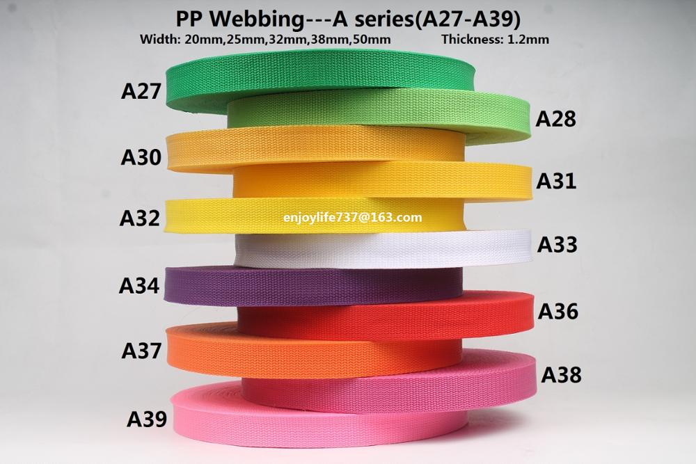 20/25/32/38/50mm wide polypropylene webbing bluish fluorescent green golden yellow white mulberry orange pink pp ribbon strap