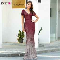 Burgundy Evening Dresses Ever Pretty EP00665BD Sequined Short Sleeve Double V-Neck Sexy Mermaid Party Gowns Vestido Longo Festa
