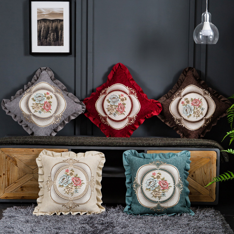 Luxuried Chenille Embroidery Floral Pillow Cushion Cover Home Housse De Coussin Sofa Chair Bed Car Decorative Throw Pillowcase