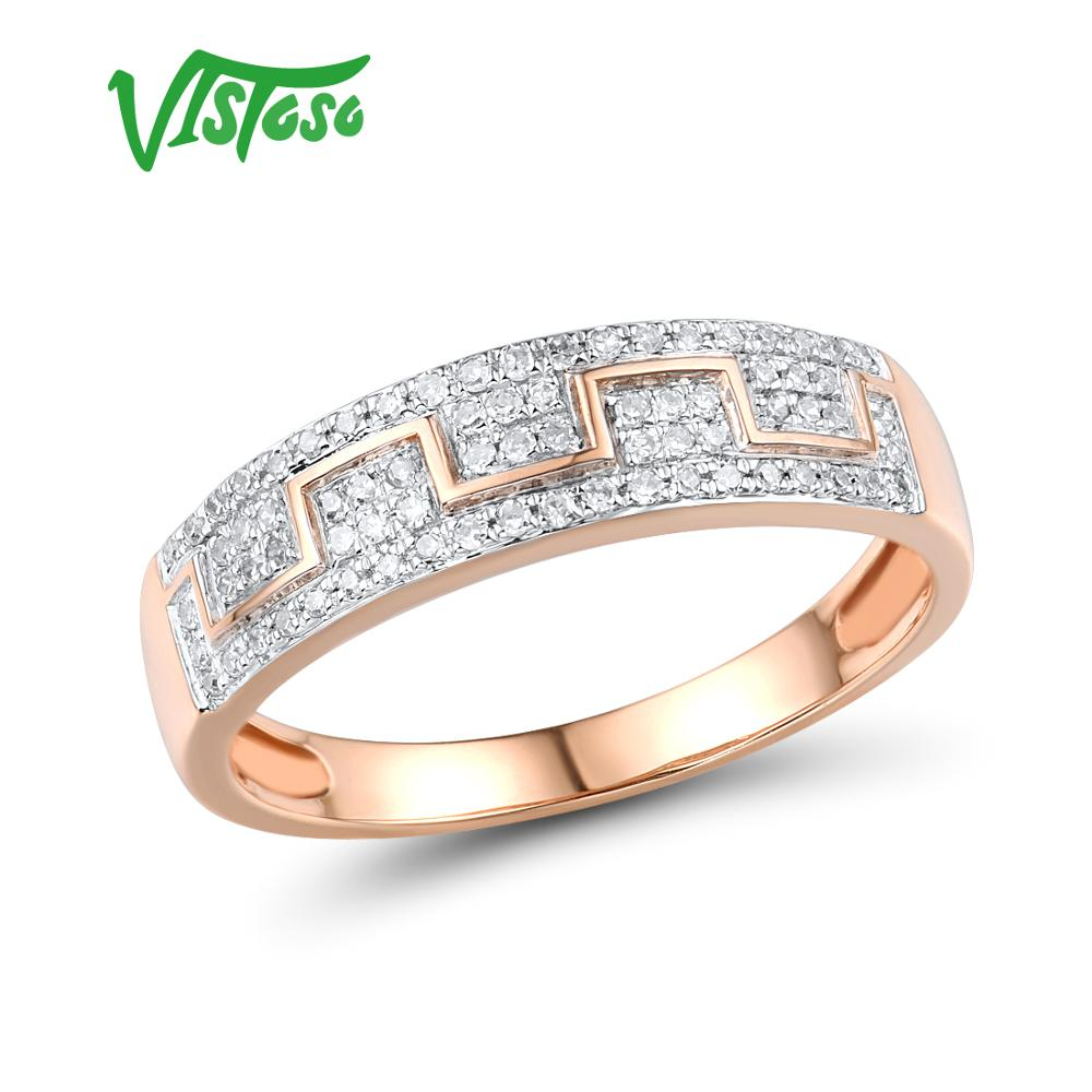 VISTOSO Gold Rings For Women Genuine 14K 585 Rose Gold Ring Sparkling Diamond Promise Engagement Rings Anniversary Fine Jewelry