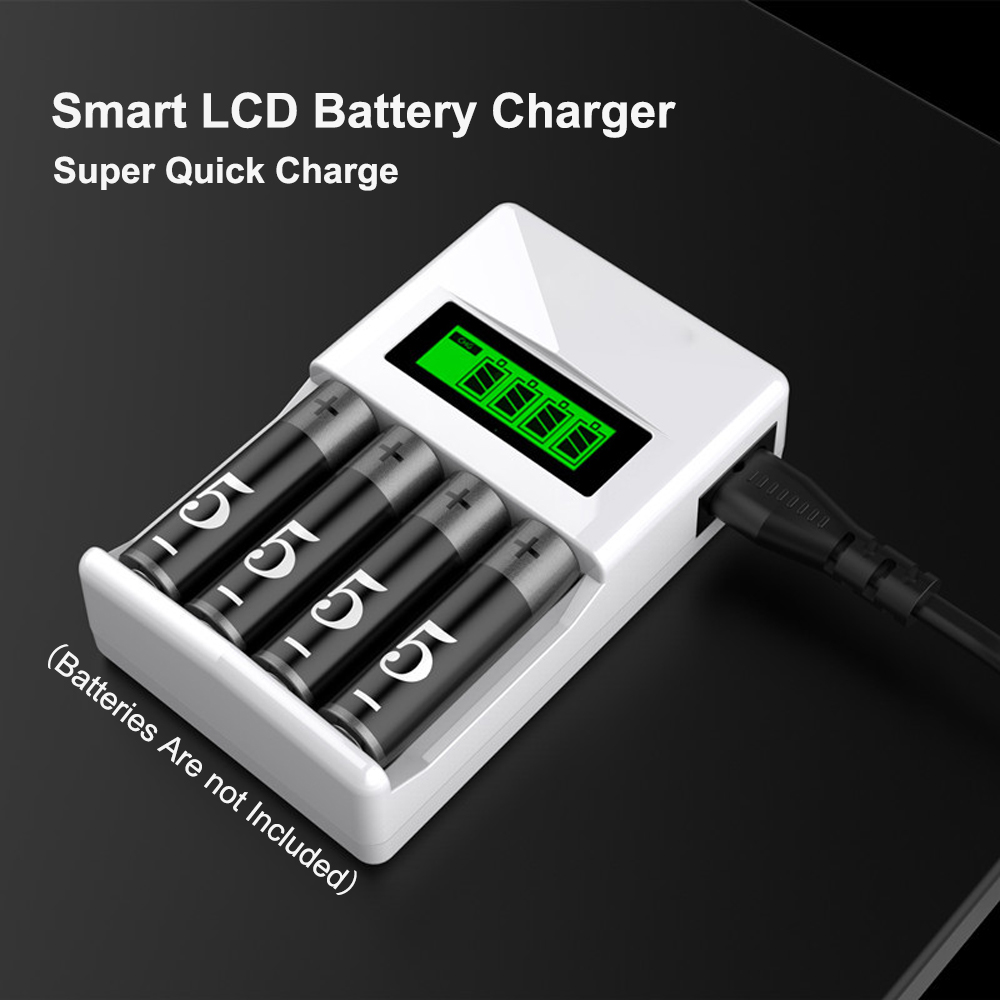 lowest price PUJIMAX LCD-004 LCD Display With 4 Slots Smart Intelligent Battery Charger For AA AAA NiCd NiMh Rechargeable Batteries
