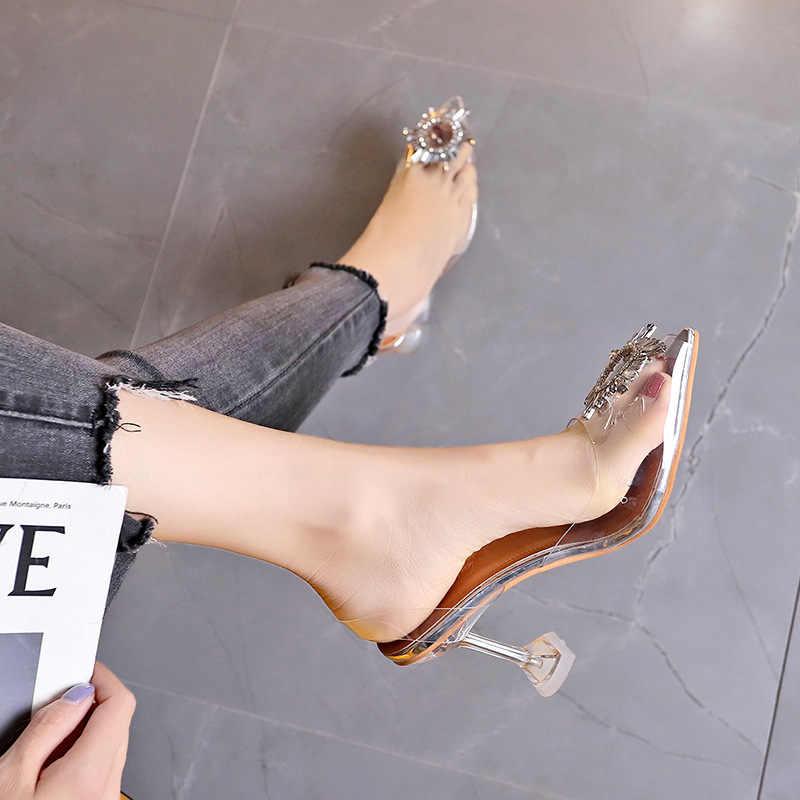 Di lusso Delle Donne di Pompe 2019 Trasparente Tacchi Alti Sexy Scarpe A Punta Slip-on di Cerimonia Nuziale Del Partito di Modo di Marca di Scarpe Per La Signora formato 34-41