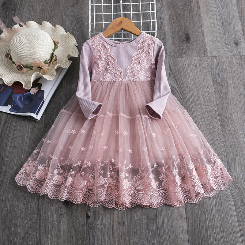 H10abc1f658834f5d865f25a34457abcbe Red Kids Dresses For Girls Flower Lace Tulle Dress Wedding Little Girl Ceremony Party Birthday Dress Children Autumn Clothing