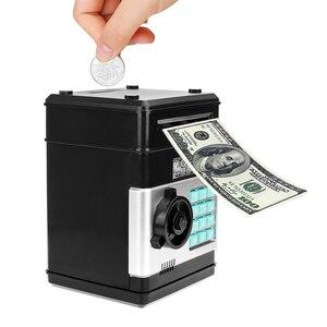 Image 1 - Anpro كلمة السر الإلكترونية حصالة على شكل حيوان ATM حصالة النقود عملة التلقائي إيداع الأوراق النقدية آلة توفير المال ATM البنك صندوق الأمان