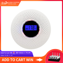 Smoke Detector & Carbon Monoxide 2 in 1 LCD Display Battery Operated CO Smoke Sensors Alarm with LED Light Flashing Sound Warn