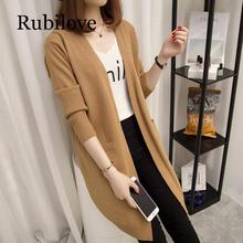 Rubilove Long Cardigan Female 2019 Autumn Winter Women Long Sleeve Cardigan Sweater Knitted Cardigans For Women Sweater trendy collarless knitted long sleeve cardigan for women