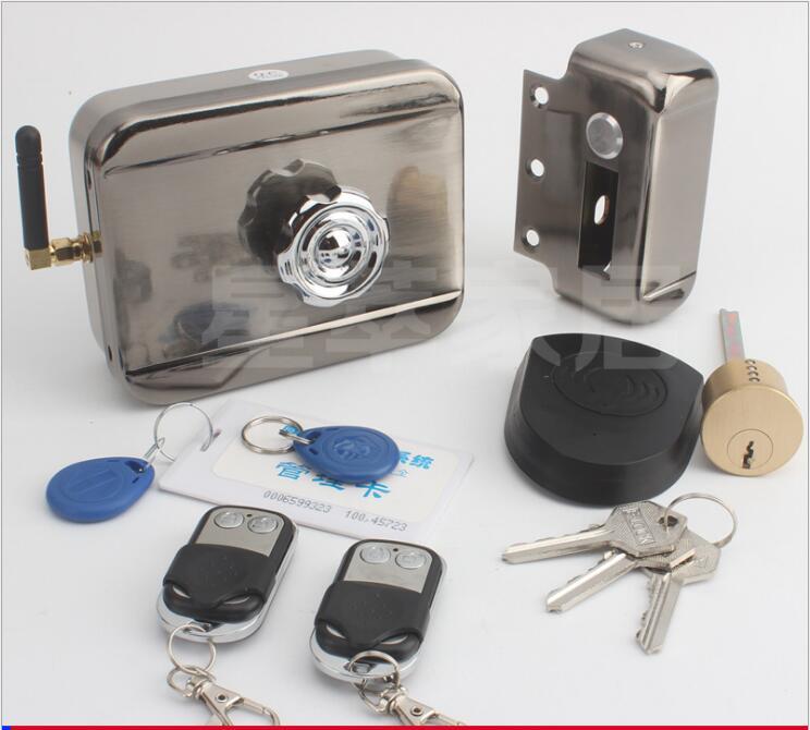 Verrou de verrou de serrure de porte électrique de porte de télécommande de contrôle d'accès de batterie (2 ou 4 télécommandes, aucune batterie)